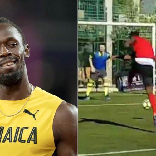 Usain Bolt in campo con il Borussia Dortmund a marzo