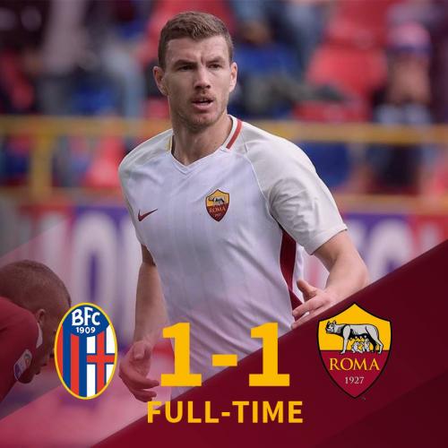 Roma, solo un punto a Bologna: Dzeko salva i giallorossi