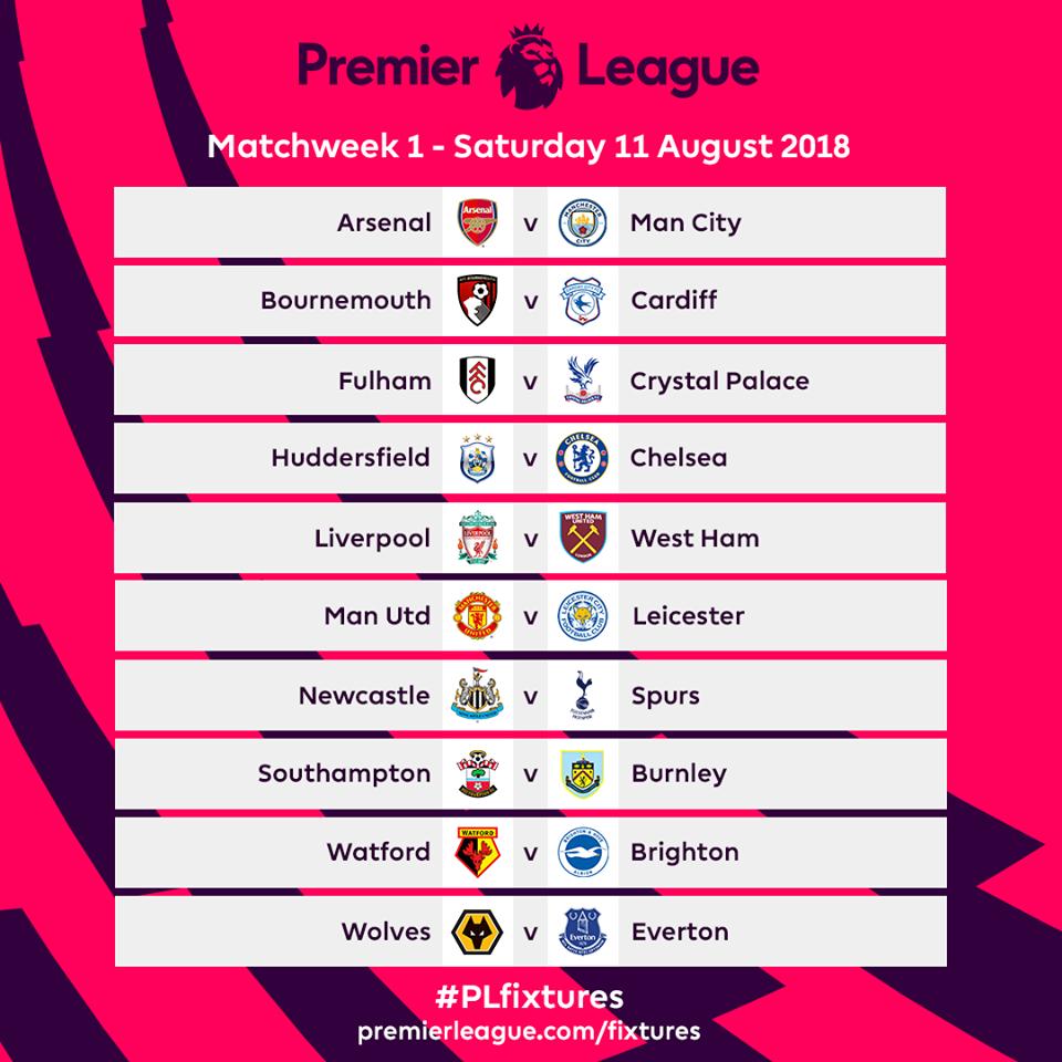 Calendario Partite Premier League.Calendario Premier League 2018 19