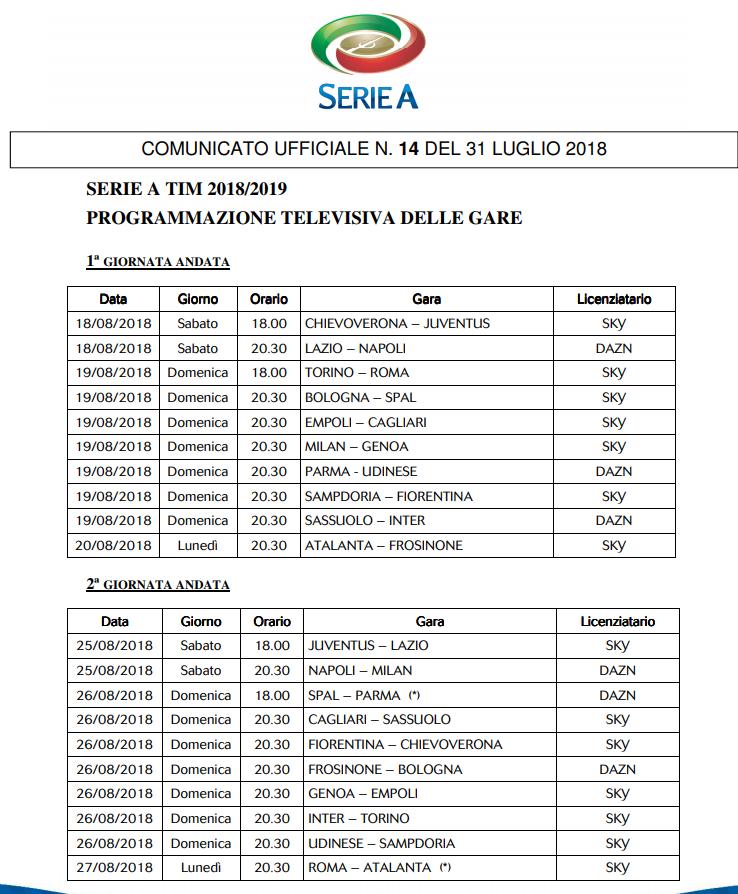 Calendario Anticipi E Posticipi Serie A.Serie A Anticipi E Posticipi Delle Prime 3 Giornate