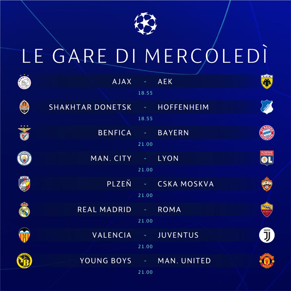 Partite Champions Calendario.Champions League 2018 19 Le Partite Di Mercoledi